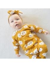 Casual Cloud Print Baby Sleepsuits With Headband