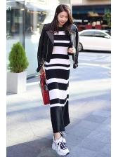 Striped Black And White Knitting Maxi Dress