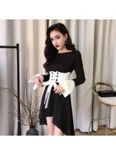 Chic Contrast Color Tie-wrap Smart Waist Asymmetrical Dress
