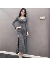 New Arrival Striped Split Casual Maxi Dresses