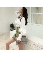 Korean Design Snake Print Turndown Neck Womens Sets
