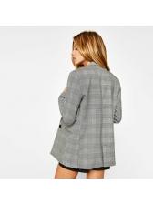 Euro Hot Sale Causal Plaid Loose Womens Blazer