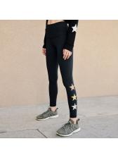 Hot Sale Star Printed Skinny Black Yoga Pants