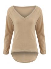 Fashionable V-Neck Irregular Solid Causal T-Shirt