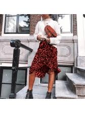 Autumn Leopard Printed Casual Asymmetrical Skirt