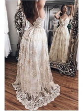 Backless Lace Embroidery Spaghetti Strap Evening Dresses