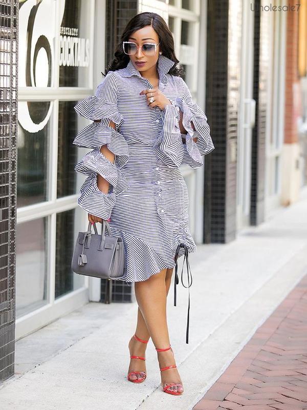 Ruffle Sleeves Drawstring Light Blue Striped Dress
