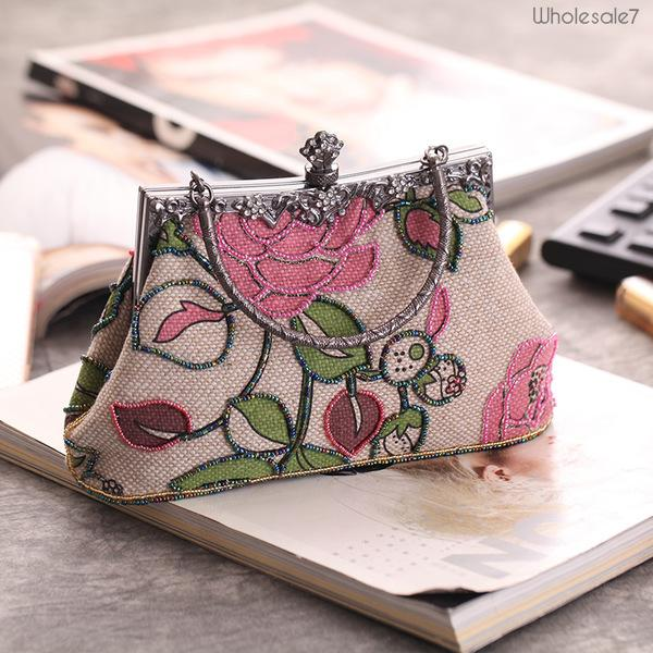 National Style Floral Beading Evening Hand Bag