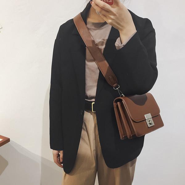 Korean Solid Casual Vintage Shoulder Bag For Women