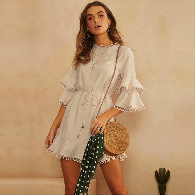 Euro Flare Sleeve Fitted White Long Sleeve Mini Dress