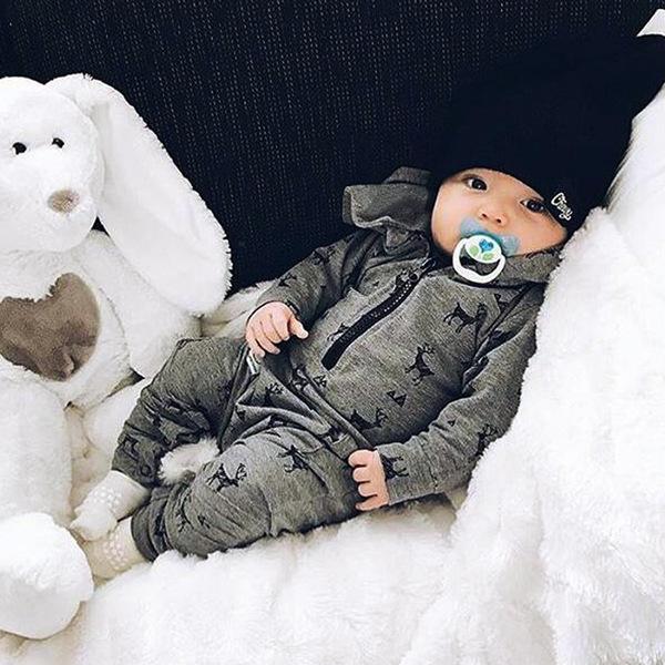 Euro Reindeer Printed Hooded Neck Baby Jumpsuits