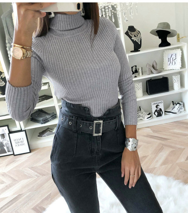 Casual High Neck Solid Fitted Woman Bodysuits