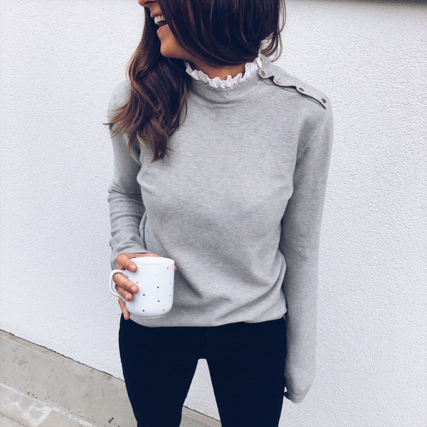Winter Slid Lace Patchwork Stand Neck Matching T-Shirt