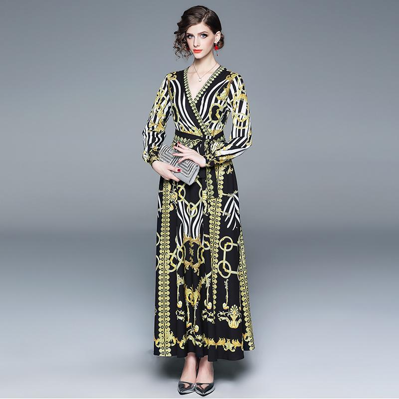 Elegant Striped Binding Bow Printed Maxi Dresses