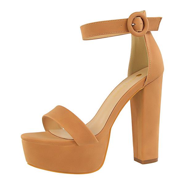 Simple Design A-Buckle Belt Platform Tan Heels