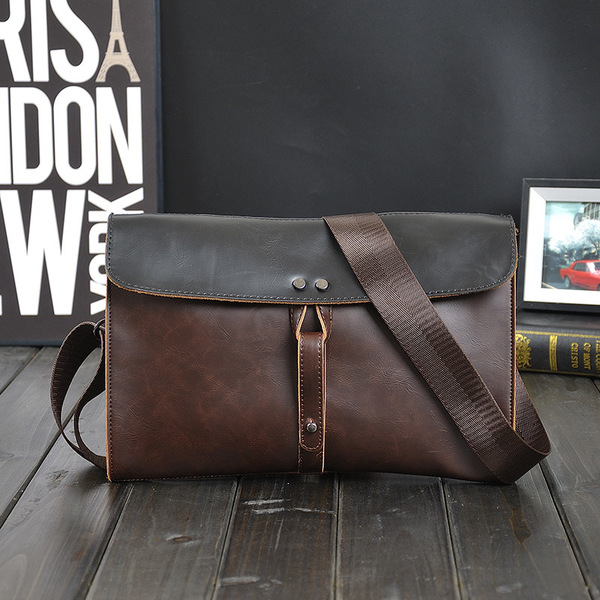 Causal Contrast Color Hasp Leather Messenger Bag