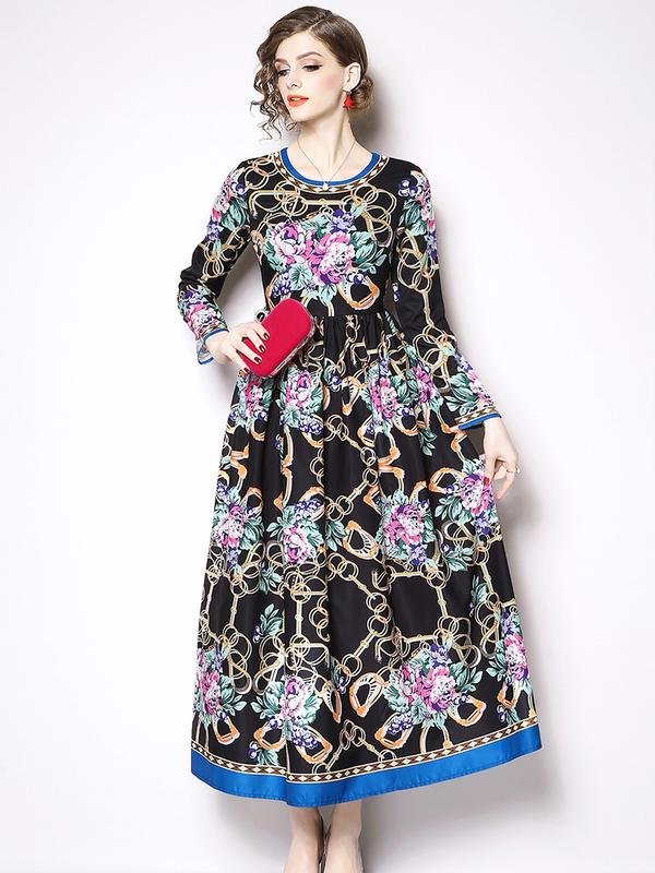 Elegant Flowers Printed Crew Neck Vintage Dresses