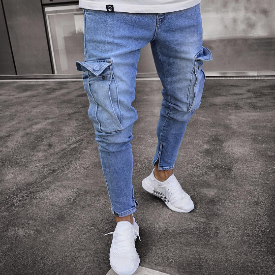 Hot Sale Solid Fitted Pockets Men Ripped Jeans