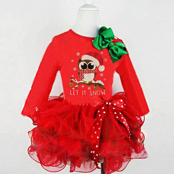 Owl Printed Patchwork Gauze Baby Girl Christmas Dress