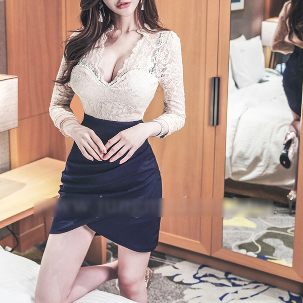 Lace Patchwork Low-cut Fitted Sexy Dress