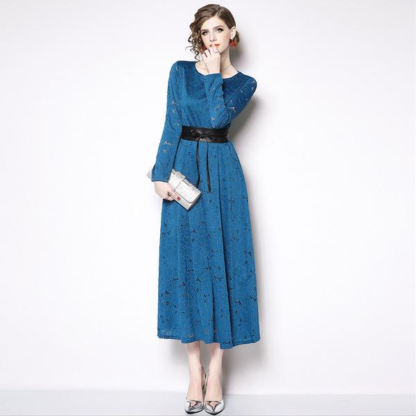Lace Binding Bow Crew Neck Elegant Ladies  Maxi Dresses