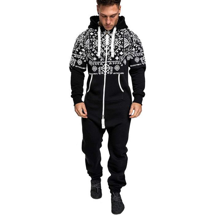 National Style Printed Casual Junmpsuit For Men