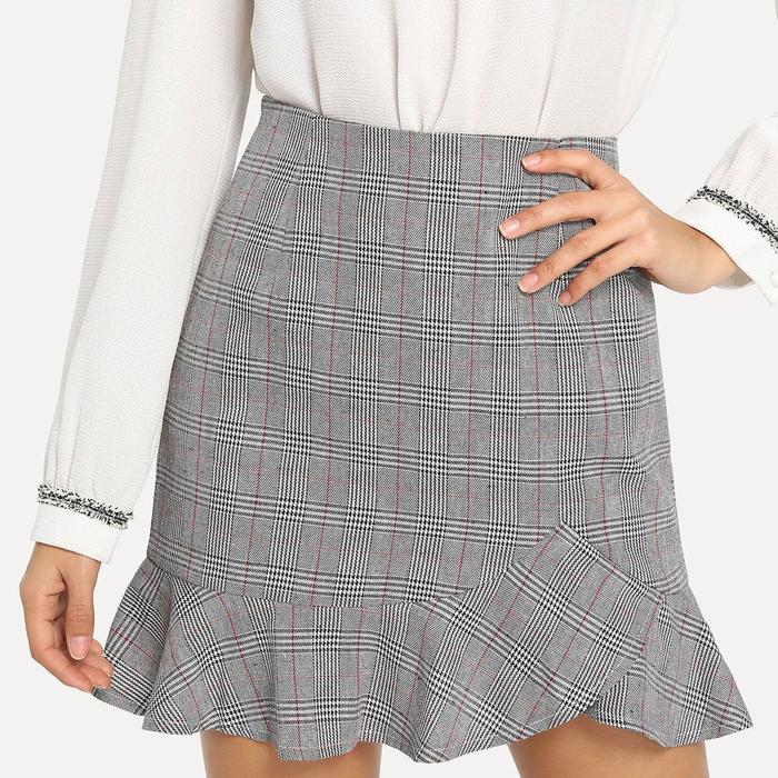 Fashionable Ruffles Check Wholesale Mini Skirt