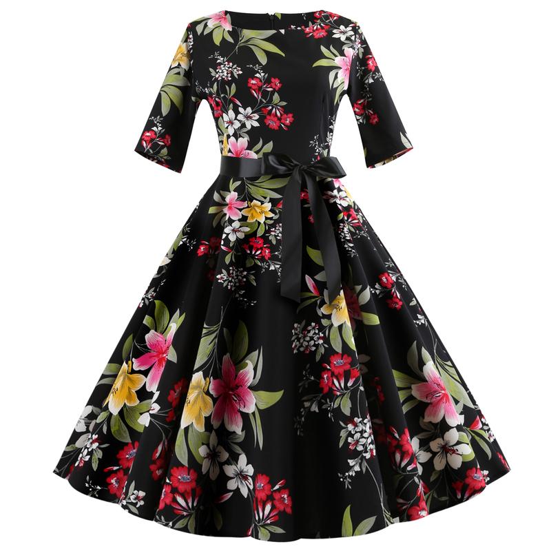 Wholesale7 Printed Half Sleeves Vintage Dress With Belt