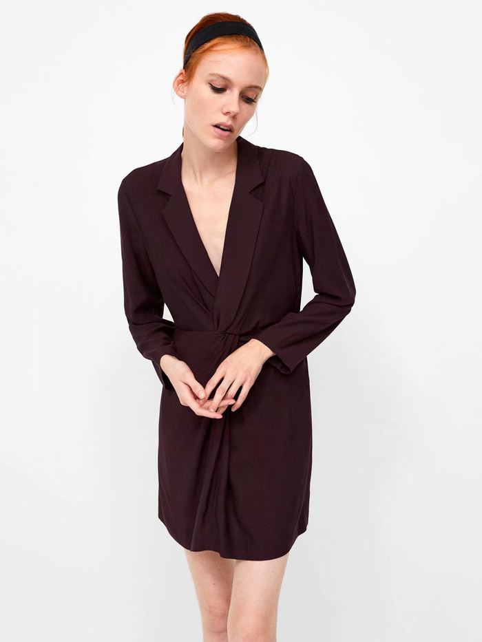 Lapel Long Sleeve Fitted Office Ladies Dress