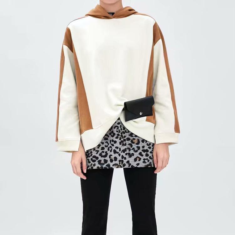 Fashion Contrast Color Split Hem Hoodies For Women
