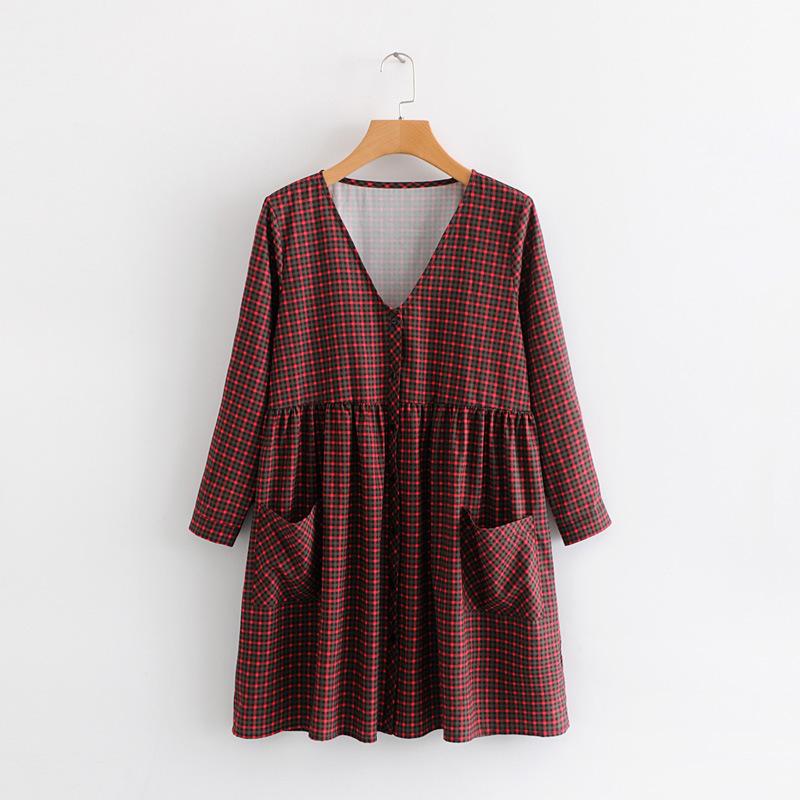 Plaid V Neck Pockets Casual Dresses