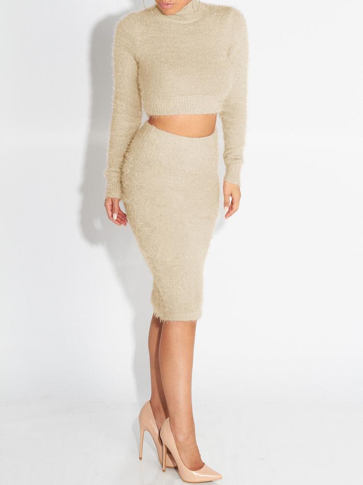 Winter Mock Neck Solid Crop 2 Piece Skirt Sets