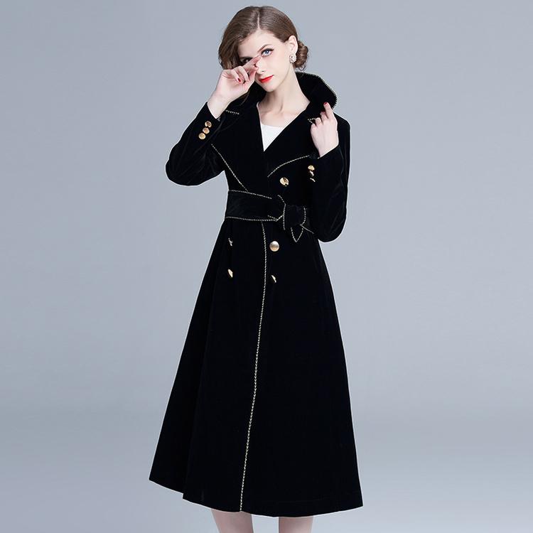 Fashion Lapel Collar Tie-Wrap Velvet Midi Dress