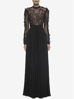 Euro O Neck Gauze Patchwork Evening Dresses