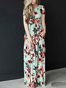 Euro Floral Prints Elastic Waist Dress