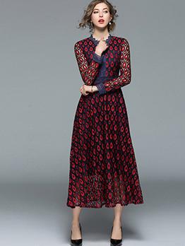 Elegant Lace Contrast Color Long Sleeve Dresses