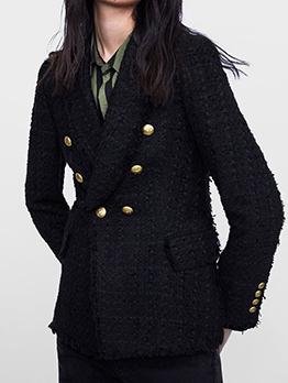Double-Breasted Lapel Woolen Black Blazer For Women