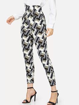 Easy Matching Geometrical Printed High Waisted Pants
