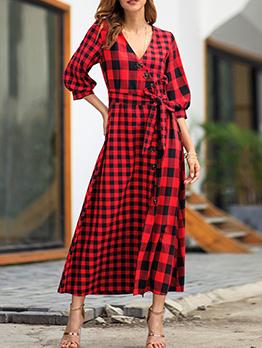 Hot Sale Plaid Tie-wrap Vintage Maxi Dress