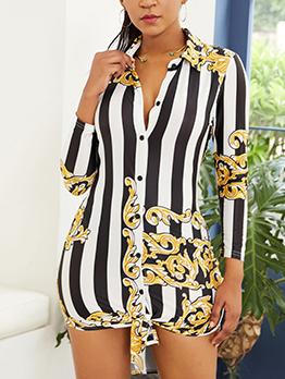 Striped Printed Button Up Long Sleeve Shirt Dress