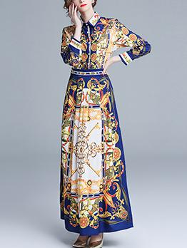 Vintage Printed Turndown Collar Elegant Maxi Dresses