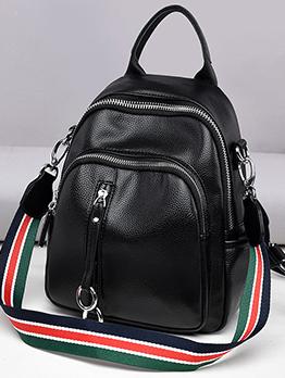 Korean Zipper Striped Belt Leather Backpack For Women