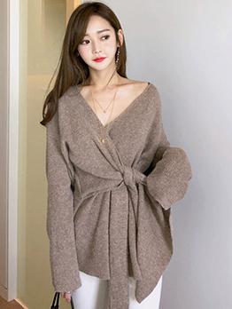 Korean Design Tie-Wrap V-Neck Solid Womens Sweater