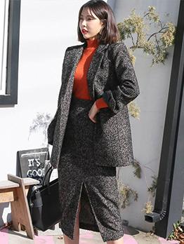 Korean Solid Lapel Slit Formal Womens Suits