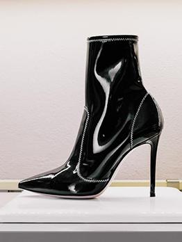 European Pointed Toe Black High Heel Boots