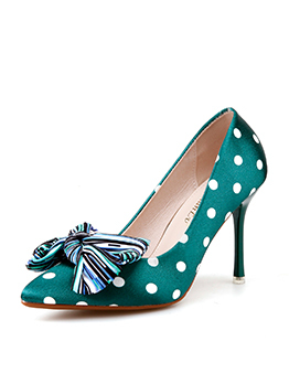 Sexy Polka Dots Bow Thin Heel Pumps