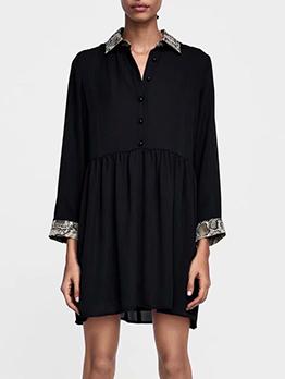 Snake Print Single-breasted Turndown Collar Dress