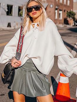 Fashion Lantern Sleeve White Hoodies For Women