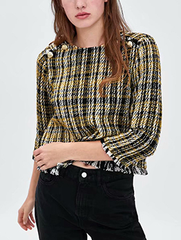 Fashionable Houndstooth Tassel Loose Women Blouse