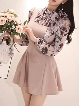 Korean Flowers Chiffon Patchwork Women Dresses